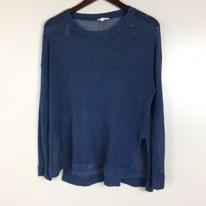 Eileen Fisher Medium Sweater Blue Netted Knit